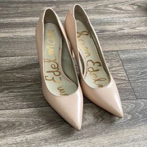 Sam Edelman Leather Nude Heels 5.5